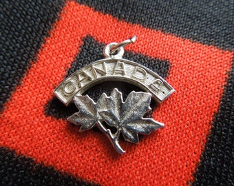 Sterling Canada Charm Vintage Canadian Maple Leaf With Canada Banner On Top Sterling Silver Charm for Bracelet from Charmhuntress 03056