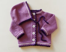 Baby girlset knitted baby set wool set lilac sweater and hat baby girl outfit MADE TO ORDER
