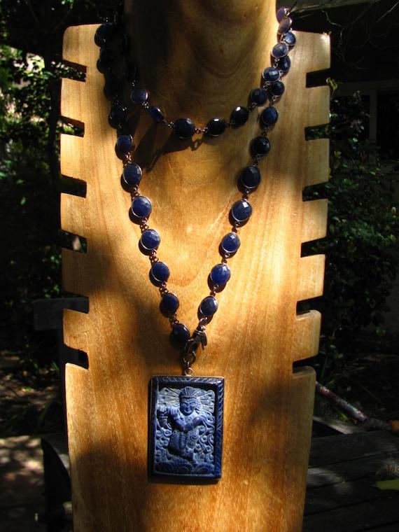Lapis Dancing Krishna Necklace