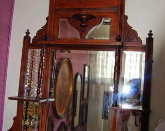 Antique Cherrywood Hall Tree-Mirror  - CG
