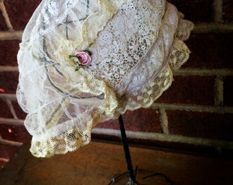 1920s Ivory Lace Boudoir Cap | dressing | sleeping