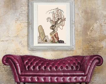 Rabbit Print Bunny Antoinette - marie Antoinette print rabbit art Rabbit decor french style decor french decor french country french print