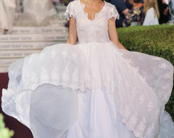 Country Rustic wedding dress, Silk wedding dress, Lace wedding dress, Hippie wedding dress, French wedding dress, Lace bridal dress