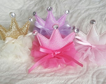 Princess Crown Headband.  Tiara Headband.  Nylon headband or Ponytail holder. Purple, Dark Pink, Light Pink and Gold w/ rhinestone accents.