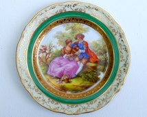 Limoges French Porcelain Fragonard Collectible Cabinet plate Courting Couple Green Gold