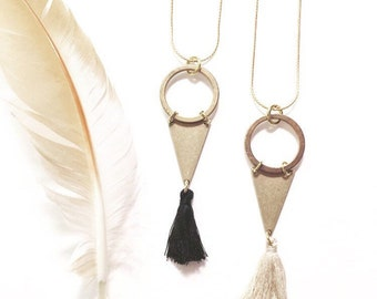 SALE-Modern Gypsy Tassel Necklace with Black or Taupe Tassel, Brass Triangle and Circle, and Vintage Matte Brass Chain