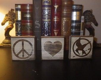 I <3 or Peace, Love & _____  Customizeable Decor | Fandom Desk/Shelf Decor Blocks