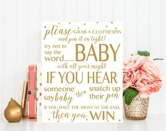Don't Say Baby - Baby Shower Game, Printable Baby Shower Game, Baby Shower Sign,  Gold, Baby Shower Printable, Baby Shower Decor BAS1