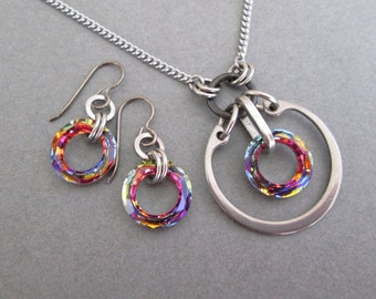 Matching Necklace and Earring Set, Swarovski Crystal Set, Stainless Steel Jewelry Set, Hypoallergenic Earring Set, Crystal Pendant