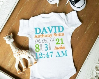 Birth Announcemnt CUSTOMIZE NAME and Font Color Bodysuit by Simply Chic Baby Boutique