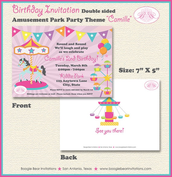 Amusement Park Birthday Party Invitation Pink Girl 1st 2nd 3rd