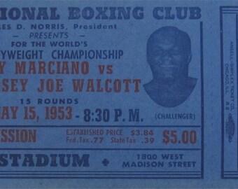 Original 1953 Rocky Marciano vs Jersey Joe Wolcott Chicago Stadium Ticket - Free Shipping