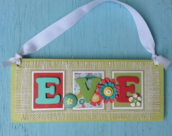 Personalized Wood and Burlap Name Sign  / Wall Hanging - 3 Letters / wood frame with white burlap -Kids name sign-Baby sign