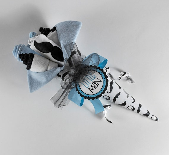 The Little Man Baby Bouquet. Mustache theme baby shower gift.