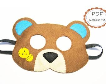 PDF PATTERN Bear felt mask sewing tutorial instruction DIY handmade brown animal costume accessory for boys girls adults Dress up play