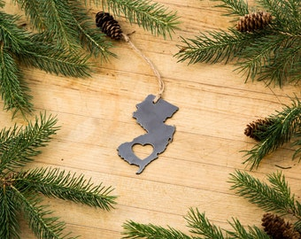 Love New Jersey Christmas Ornament State Rustic Metal Ornament Recycled Steel Holiday Gift Industrial Decor Wedding Favor ironmaid