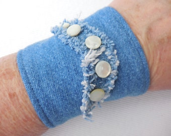 Blue Denim Cuff Bracelet, MOP buttons on curved island, vintage jean jewelry, eco-friendly, denim jewelry, for 5 to 6 inch wrist
