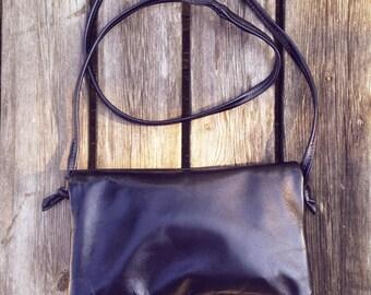 Black leather Messenger bag-wallet