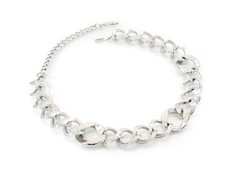 Vintage Chain Link Necklace, Silver Tone