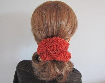Fluffy scrunchy ponytail scrunchy hair ties hair elastic pom pom scrunchy yarn scrunchie scrunchies orange scrunchy fluffy scrunchie