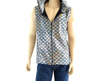 Mens Sleeveless Silver Dragon Zipper Front Top with Silver/Black Shattered Glass Hood Lining & Fuchsia Dragon Spikes -152824