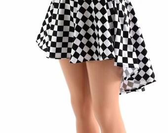 Black & White Checkered Hi-Lo Mini Skirt Rave Festival Winners Flag Skirt 152382