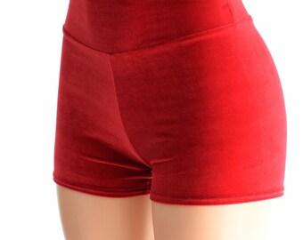 Red Velvet High Waist Shorts Festival Rave Hoop Dance Performance Shorts 152436