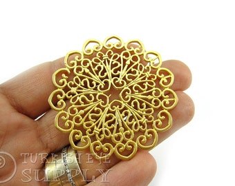 Large Round Filigree Connector Pendant, 22K Gold Plated Turkish Jewelry Supplies