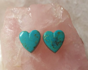 Blue Turquoise Hearts Cabochon Pair/ backed/ Blue Gem turquoise