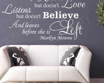 Marilyn Monroe Quote A Wise Girl Kisses  Wall Quote Marilyn Monroe Vinyl Mural Art Decal Sticker