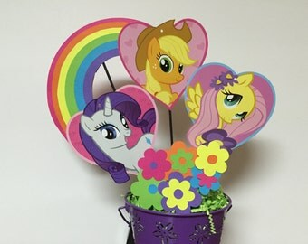 My Little Pony Centerpieces, Diamond, Applejack, Fluttershy  Little Pony Birthday Decorations, Diamot Centerpiece/ Decorations