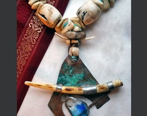OOAK Hand Forged Copper Mini Sculpture Pendant with Burned Antler, Blue Transparent Glass with Stacked Ancient Stones, Conch Shells and Bone