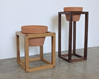 midcentury plant stand, modern planter, wood plant stand