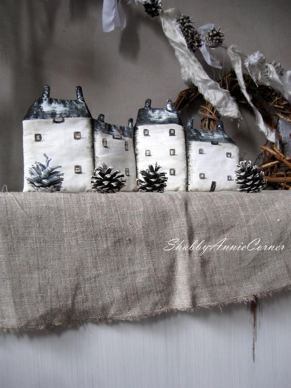 Christmas Mantle Decor Firplace Mantel Little Houses Primitive