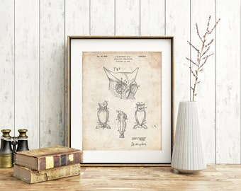 Owl Bird of Prey Patent Poster, Owl Decor, Yard Art, Put a Bird on It, Bird Decor, Birdwatching, PP0647