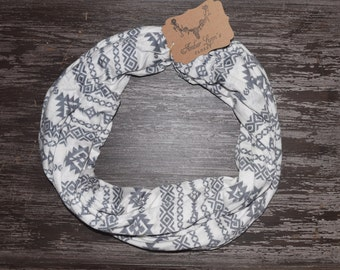 Jersey Cotton Aztec Infinity Scarf / Ready to Ship