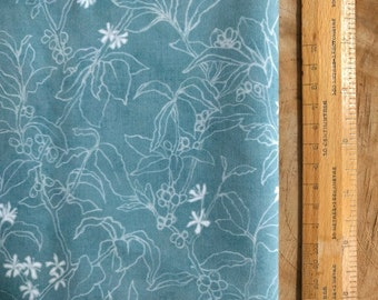 Botanical Print Fabric | Soft cotton fabric, digital print fabric from original drawing of Arabica coffee plants, flowers and fruit in teal.