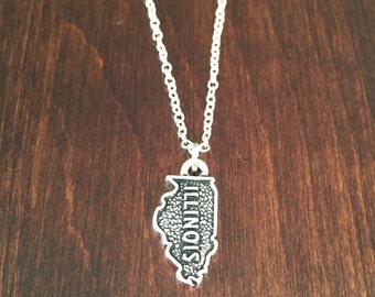 Illinois necklace, Illinois, silver Illinois necklace, state necklace, state jewelry, Illinois jewelry, Illinois state necklace, necklace
