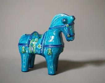 BITOSSI HORSE, Blu Liberty Range, Designed by Aldo Londi, Paisley Design, Made in Italy, Italian Mid Century Modern, Bitossi Animal