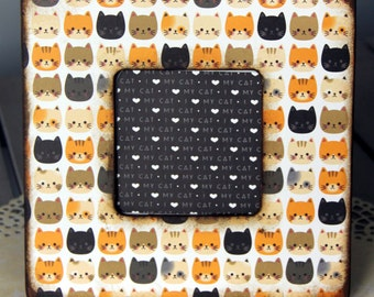 Cute Cat Faces Wooden Frame