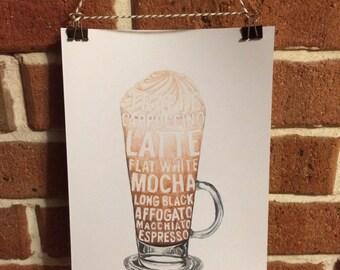 Latte Coffee Print unframed 21 x 29cm