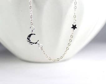 Star Moon Necklace,Moon and Star Necklace,I love you to the moon and back. Small star Necklace, Simple dainty Jewelry,Moon Star Jewelry