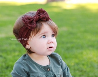 Baby headbands, baby girl headband, brown lace double bow headband, baby bows, lace headband, infant headbands, baby head wrap