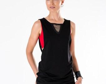 Black dress-shirt long tank top side boob summer clothing - K1  black