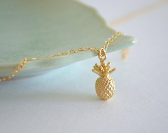 Gold Pineapple Charm Necklace, Gold Filled Chain