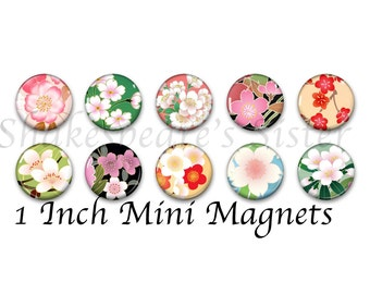 Flower Magnets - Fridge Magnets - Cherry Blossom Art - 10 Magnets - 1 Inch Mini Magnets - Kitchen Magnet