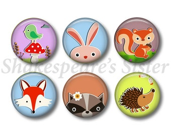 Forest Animal Magnets - Fridge Magnets - Animal Lover - Animal Magnets - 6 Magnets - 1.5 Inch Magnets - Kitchen Magnets