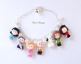 Peanuts bracelet, Charlie Brown, Lucy, Snoopy, Linus, cartoons, polymer clay