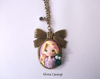 Rapunzel tangled, cameo necklace, disney princess, fanart, handmade, bronze, polymer clay