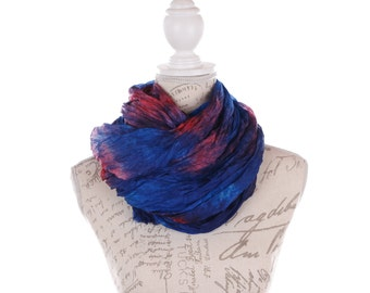 Red and blue  wrinkled silk scarf for women / red and blue ruffled silk scarf /  No iron red and blue silk wrinkled scarf
